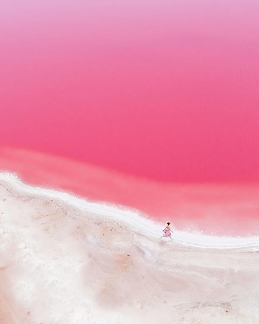 航拍大自然的少女心 粉色湖泊超梦幻