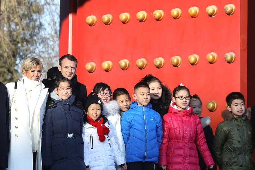 法国总统马克龙携夫人访华 参观北京故宫