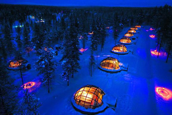 芬兰奢华冰屋酒店 玻璃穹顶绝佳赏极光